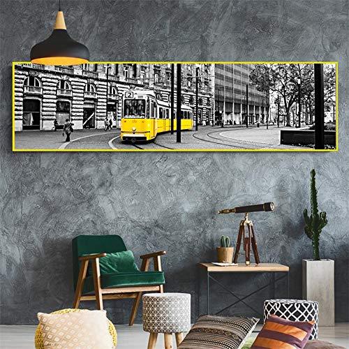 MJKLU gång retro europeisk stadsvy gul kabel bil poster tryck kanvas målning väggkonst bild sovrum sängbord heminredning 20 x 70 cm