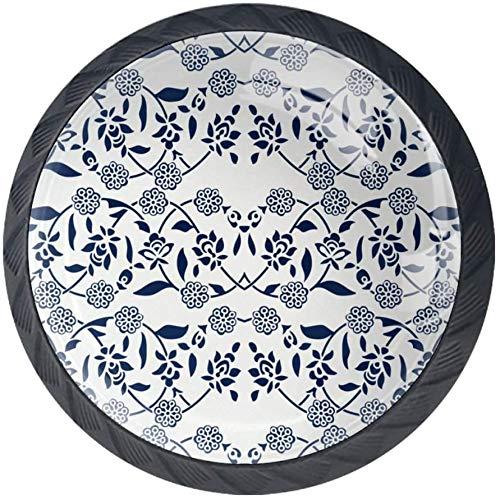 Dye Ethnic Floral Schrank Knöpfe - 4 Stück Schrankknöpfe Schubladenknöpfe Möbelknöpfe Möbelgriffe Möbelknauf Schrankgriffe für Küche Büro