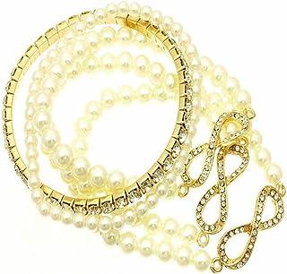 V G S Eternity Fashions Fashion Jewelry ~Cream Imitation Pearls Stackable Stretch Infinity Bracelet (DGB1454GDCRM RI)