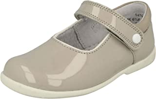 Infant Girls Clarks T-Bar Hook /& Loop Leather First Shoes Little Glo