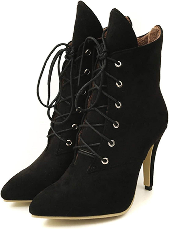 Kongsta Women Boots Winter shoes High Heels Fashion Leopard Ankle Boots Pointed Toe Casual shoes Woman Lace Up Plus Size Ladies Pumps De