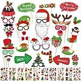 Kiiwah 32 Pièces Accessoires Photo Noël, Kit Photobooth Fête Noel avec Tatouages Temporaires pour Famille Photos et Fournitures Fête de Noël