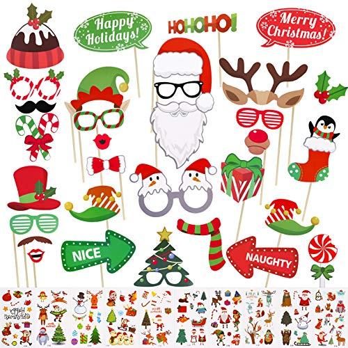 32pcs Navidad Accesorios Photocall Foto Prop Photo Booth con 10 Hojas Tatuajes Temporales de Navidad para Fiestas de Navidad
