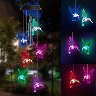 DOUBLEZHE Hummingbird with Two Metal Tubes Solar Wind Chime Solar Powered Waterproof LED Wind Chime Color Changing for Out...