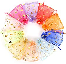 Outdoorfly 100PCS Organza Favor Bag 4x6 with Drawstring Mesh Jewelry Gift Pouch Sachet Bags Bulk for Wedding Party Baby Shower Candy Chocolate Sample Bags(Mixed Heart)