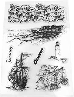 WHER Sailing Boat Lighthouse Silicone DIY Silicone Clear Stamp Cling Seal Scrapbook Embossing Album Decor Craft