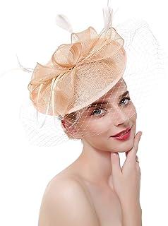 3fd4a987 COMVIP Women Cocktail Tea Party Fascinator Pillbox Hat Headband Hair Clip
