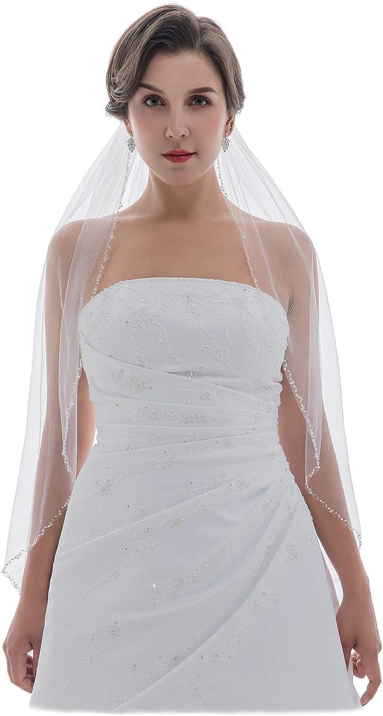 SAMKY 1T 1 Tier Pearls Crystals Beaded Wedding Veil