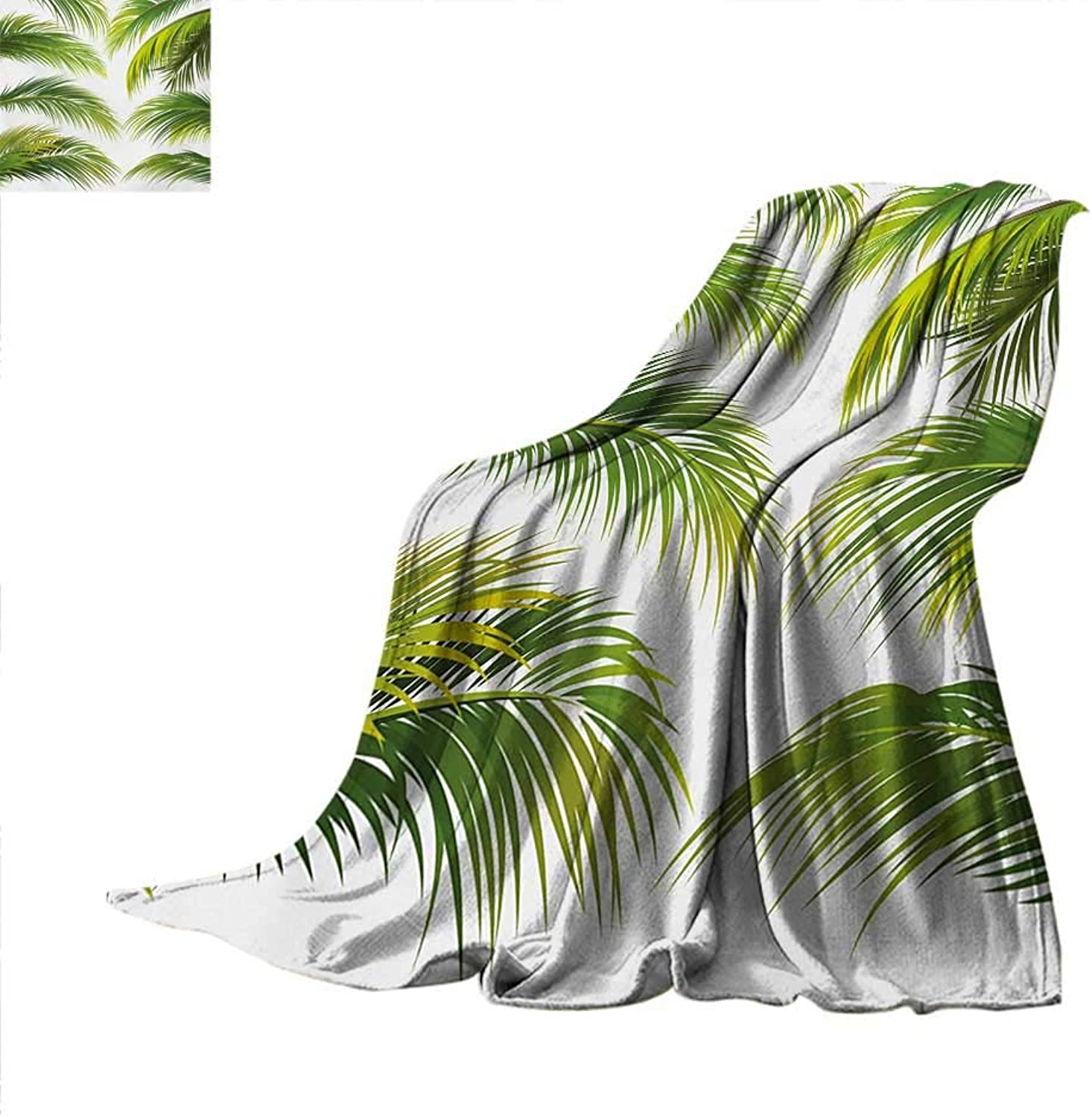 Palm Leaf Weave Pattern Blanket Vivid Palm Leaves Growth Jungle Lush Foliage Summer Forest Botany Summer Quilt Comforter 60 x50  Green Lime Green White