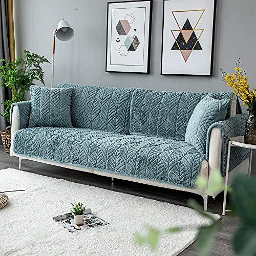 Homeen Cubierta de sofá de Peluche Caliente para 1/2/3/4 plazas,Funda de sofá para Primavera,otoño,Invierno,Hoja de Asiento Antideslizante de Hoja-Azul_70 * 70 cm