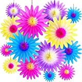 24 Pieces Spring Summer Paper Flower Decorations Hanging Tissue Flower Hand Handcrafted DIY Flip Flowers for Boy Girl Birthday Baby Shower Party Decoration, 4 Colors