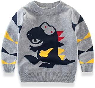 DDSOL Kids Boys Sweater Dinosaur Sweatshirt Long Sleeve Pullover Tee Shirt Cotton Sweatshirt Top Size 2-7T