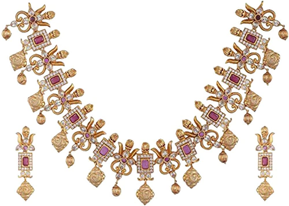 Tarinika Ahaana Gold-Plated Indian Jewelry Set with Necklace and Earrings - White Red