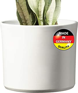 Modern Ceramic White Round Medium Flower Pot 8.5 inch  Liverpool Model for Indoor Large Planter   Fits in 10 and 11 inch Mid Century Plant Stands   Cylinder Ceramic Round Plant Pots (Renewed)