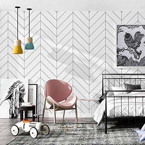 Wood Geometric Stripe Peel and Stick Wallpaper Shiplap Black White Self Adhesive Removable Wallpaper product image