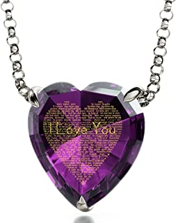 925 Sterling Silver Heart Pendant I Love You Necklace 24k Gold Inscribed in 120 Languages in Miniature Text on Sparkling Brilliant Cut Heart-Shaped Cubic Zirconia Gemstone, 18
