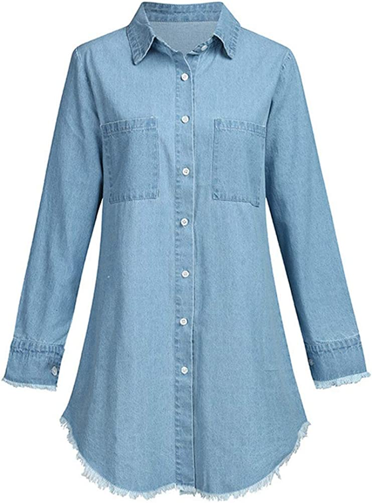 Kedera Women's Denim Shirt Dresses Long Sleeve Distressed Jean Blouse Button Down Casual Tunic Top