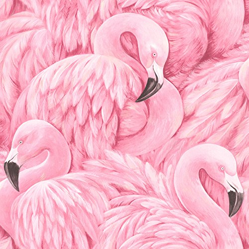 rasch Tapete 803211 aus der Kollektion Lucy in the Sky – Vliestapete in Pink mit Flamingo-Design – 10,05m x 53cm (L x B)