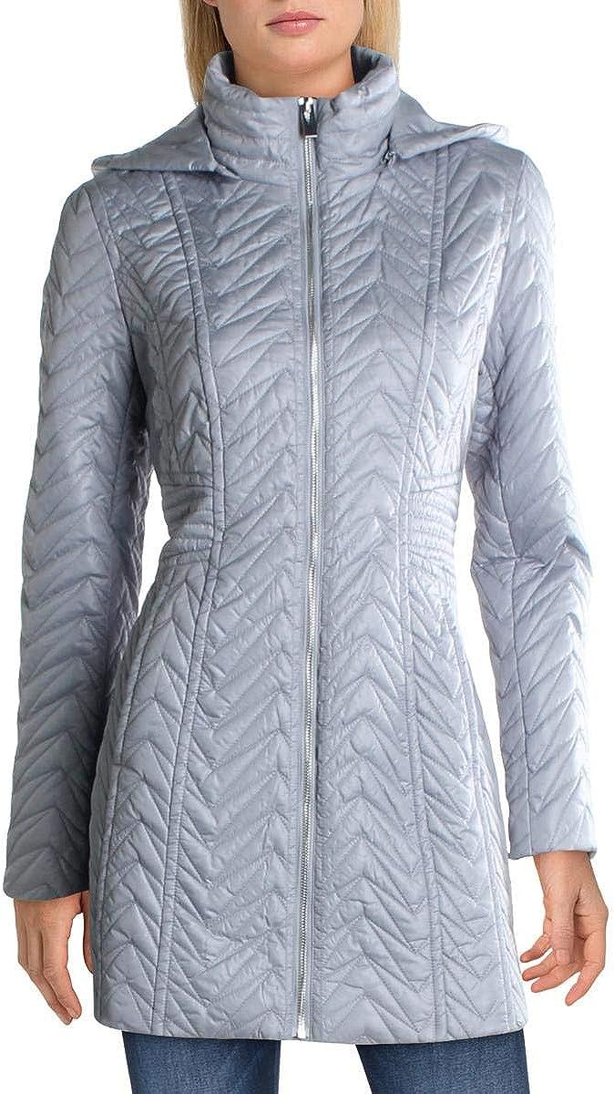 Via Spiga Womens Zig Zag Quilted Midi Puffer Jacket Blue XS