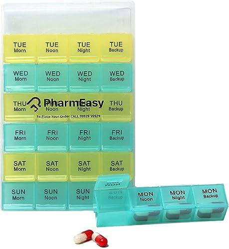 LivEasy PharmEasy Pill Medicine Organiser Reminder Storage Box for 28 Days or 4 Weeks Pack of 1