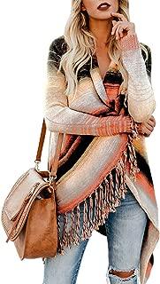 Women's Open Front Knitted Tassel Cardigan Stripes Slash Hem Loose Sweater Poncho