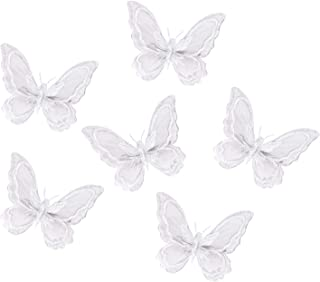 Penta Angel Butterfly Hair Clips 6Pcs White Embroidery Lace Hair Bobby Pins Barrettes Hair Accessory Alligator Clips for Women And Girls