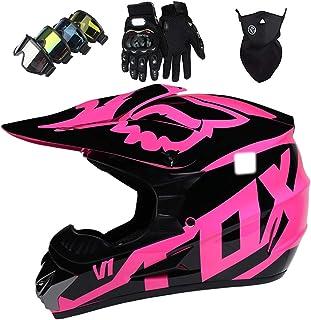 Kinder Motorradhelm, Jugend Adult Motocross Helm Set mit Downhill Brillen, Fullface MTB Helm,Crosshelm für Quad Bike Enduro Rennsport Fahrrad Motorrad Crash Helm mit FOX Design - Glänzendes Rosa