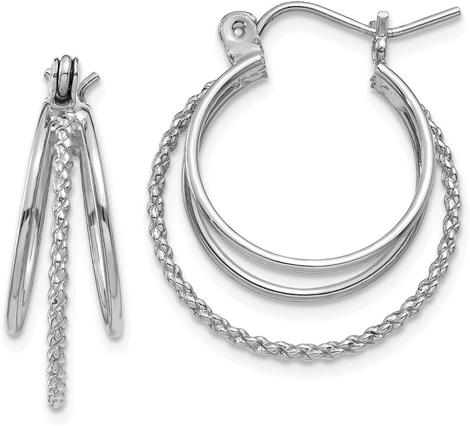 Beautiful White gold 14K 14k White gold Polished and Textured Circle Hoop Earrings