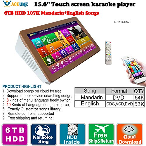 Find Bargain 6TB HDD,107K Chinese(Mandarin) Songs,English Songs,15.6''Touch Screen Karaoke Player, C...