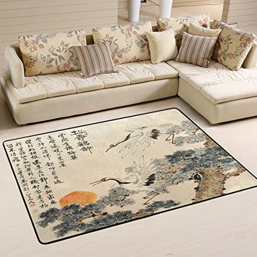Naanle Traditioneller japanischer Malerei-Teppich für Wohnzimmer, Esszimmer, Schlafzimmer, Küche, 50 x 80 cm, Japan Kran, Kiefer Baum, Sonne, Kinderzimmerteppich, multi, 120 x 180 cm(4\' x 6\')