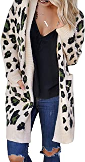 Exlura Women's Cardigans Leopard Printed Open Front Knitted Kimono Long Sleeve Sweater Chic Coat Outwears with Pockets