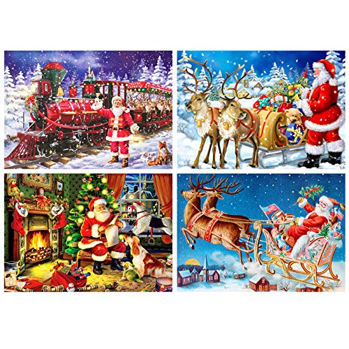 Whaline 4Pcs Christmas Diamond Painting Kit 5D Full Drill Rhinestone Embroidery Cross Stitch Painting for Christmas Home Decor Christmas Tree Deer Carriage Snow