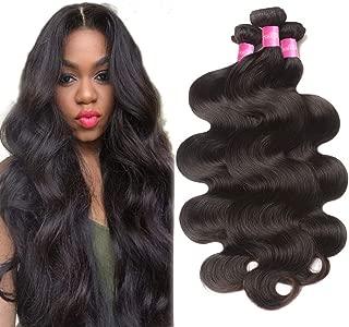 10A Grade Brazilian Body Wave 3 Bundles 12 14 16inch Unprocessed Virgin Brazilian Human Hair Wavy Bundles Remy Hair Weave Extensions Natural Black
