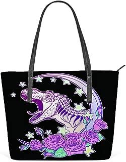 Tote Handbag Women PU Leather Fashion Zipper Shoulder Bag Large Capacity Roaring Tyrannosaurus Moon Roses Pastel Goth