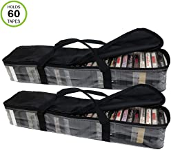 Evelots Cassette Tape Bag-Organizer/Storage-Easy Carry-No Dust/Moisture-Holds 60