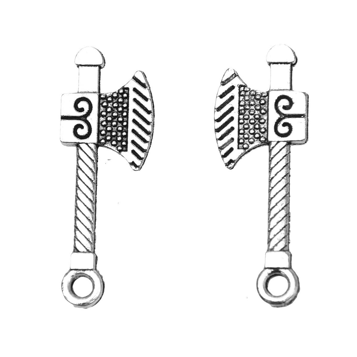 Monrocco 50 Pcs Antique Silver 3D Alloy Metal Axe Ax Hatchet Charms Pendant for Bracelets Necklace Jewelry Making