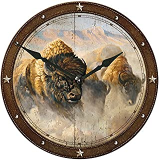 Wild Wings Phantoms of The Plain - Bison Round Clock by Grant Hacking