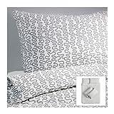 Ikea Krakris Parure de lit 240 x 220 cm, Blanc/Gris, Polyester/Coton, weiß mit...