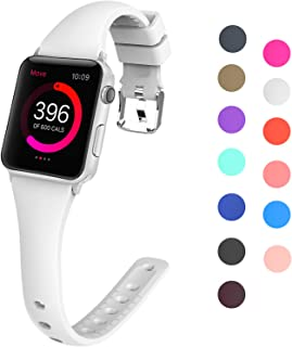 Lwsengme Slim Rubber Bands Compatible with Apple Watch 38mm 40mm 42mm 44mm, Multiple Colors Thin Silicone Strap Compatible...