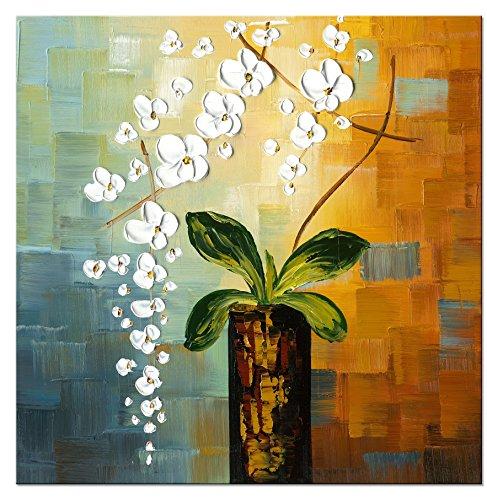 Wieco Art- Quadro 'Beauty of Life', 100% dipinto a mano, moderno, motivo floreale, intelaiato e incorniciato, su tela, da appendere al soggiorno, camera da letto, decorazione da parete
