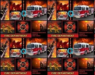 Fleece Fire Department Firemen Fire Fighters Trucks Fleece Fabric Print by the Yard A343.02HAS MIS-SPELLING