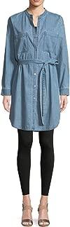Eileen Fisher BLSTR Organic Cotton Drapey Denim Mandarin Collar Dress Size L MSRP$208