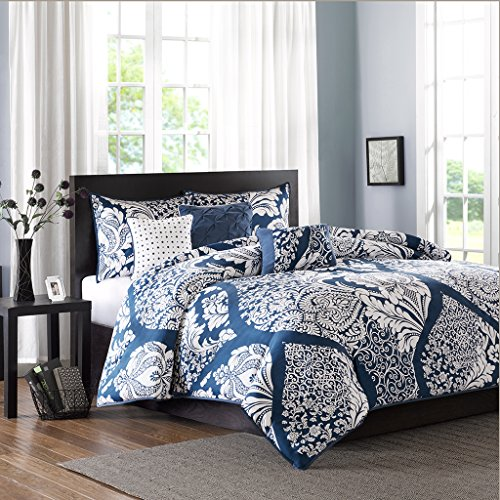Madison Park Vienna Duvet Cover Full/Queen Size - Indigo Blue, Damask Duvet Cover Set – 6 Piece – Cotton Light Weight Bed Comforter Covers
