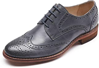 Women's Perforated Lace-up Wingtip Multicolor Leather Flat Oxfords Vintage Oxford Shoes