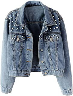 LifeShe Women's Embroidered Pearls Beading Denim Jean Jacket Coat