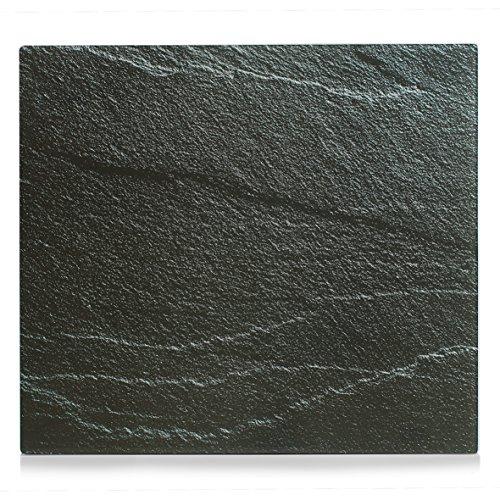 """Zeller 26289 Herdblende-/Abdeckplatte """"Schiefer"""", Glas, anthrazit, 56 x 50 x 0.78 cm"""