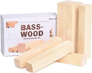 KINGCRAFT 5 Pack Basswood Carving Blocks Soft Solid Wooden Whittling Kit for Whittler Starter Kids