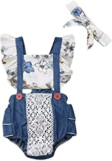 2PCS Kid Baby Girl Sunflower Lace Romper+Headband Set Butterfly Sleeve Floral Summer Clothes 0-24M