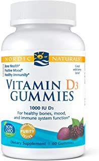 Nordic Naturals Vitamin D3 Gummies, Wild Berry - 1000 IU Vitamin D3 - 60 Gummies - Great Taste - Healthy Bones, Mood & Imm...