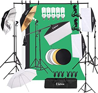 $125 » Kshioe Photography Lighting Kit, Umbrella Softbox Set Continuous Lighting with 6.5ftx9.8ft Background Stand Backdrop Suppo...